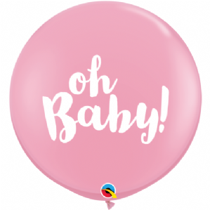 3ft Giant Balloons - Oh Baby! Pink Balloons | Free Delivery available